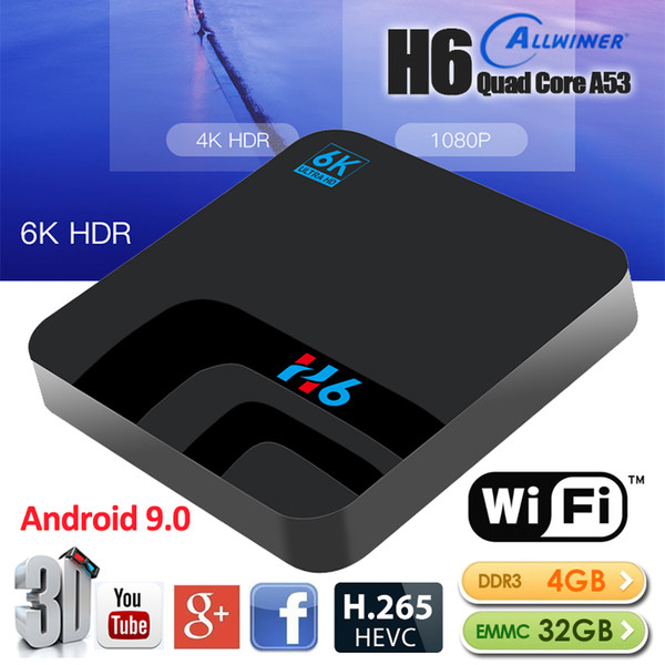 H6 Android 9.0 Smart TV BOX 4G 32GB DDR3 EMMC Set Top Box 6K 3D H.265 Wifi lettore multimediale Ricevitore TV