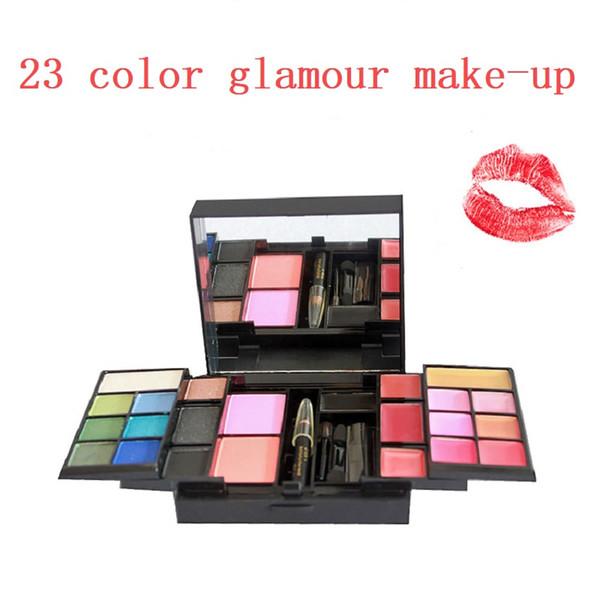 23 Color Eyeshadow Palette Set Shimmer Matte 10 Eye Shadow & 10 Lip Gloss &2 Blush &1 Concealer 3 Layer Makeup Kit Cosmetics