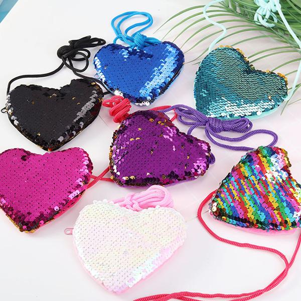 Bolso de hombro con forma de corazón, cordón de lentejuelas, monedero pequeño monedero para niños, bolso portátil para bebé, billetera lady Zero, suministros para fiestas T2D5037