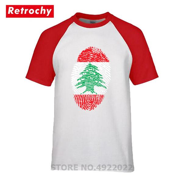 Última Manga Corta 100% Algodón Bandera del Líbano Camiseta de Hombre de Huellas Dactilares Verano Hipster Hombres Camisetas Venta Barata Camiseta de Marca Urbana