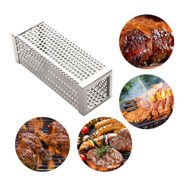 Aço inoxidável para churrasco cachimbo de malha de fumar fumante pellet de madeira para qualquer grade fumante ao ar livre quente ou frio suprimentos suprimentos ferramentas acessórios