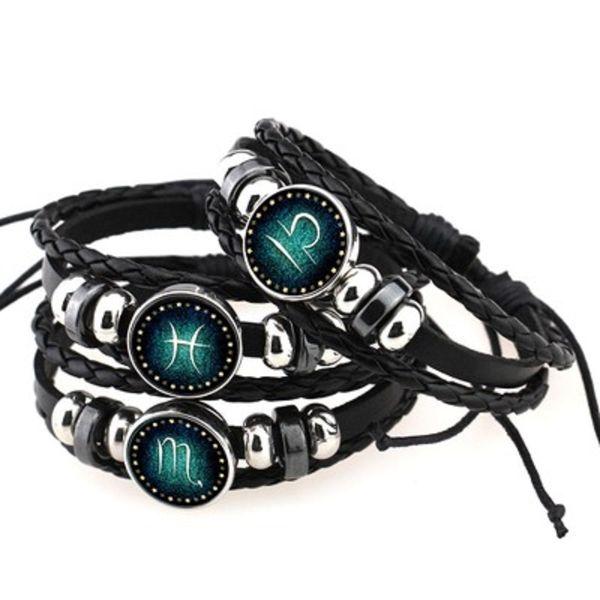 12 Constellation Multicouche Bracelets En Cuir Vintage Punk Weave Perles Bracelets Signes Du Zodiaque pour Hommes Femmes Bijoux Cadeaux DHL En Gros