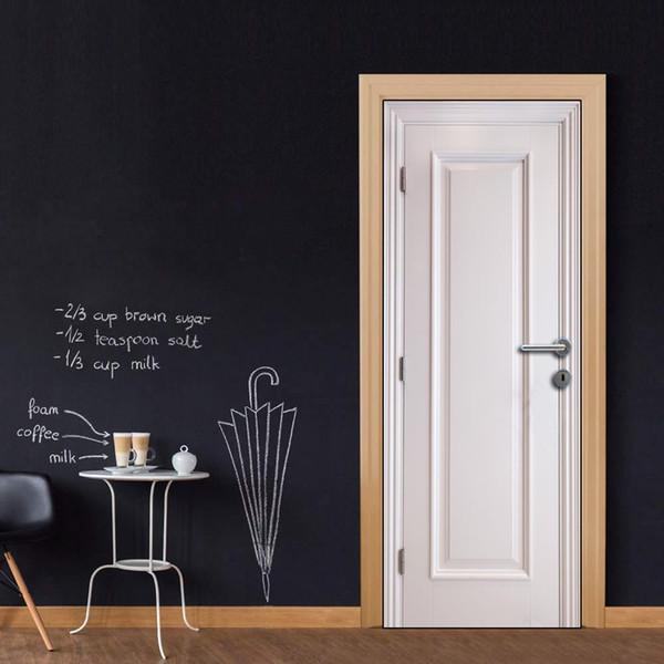 Free shipping DIY Door Sticker White Wooden door decals decorations for Bedroom Living Room wallpapers Decal home accessories