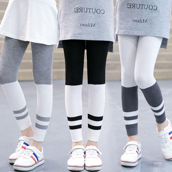 Fashion Autumn Girls Leggings Striped Elastic Waist Baby Legging Bottom Trousers Leggins Teenagers Pants Baby Girl Clothes 3-12T