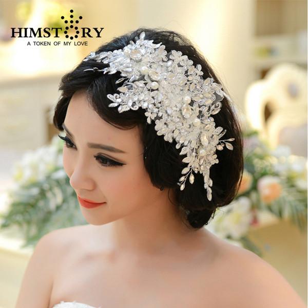 Handmade Lace Wedding Tiara Rhinestone Pearl Bridal Hair Accessories Crystal Wedding Headband Hair Jewelry Y19051302
