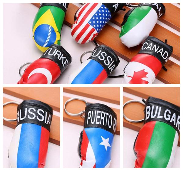 best selling Boxing Glove Keychain mini Gloves Women Key Holder Car Bag Pendant Flag Sports Key rings Keys gift LJJK1923