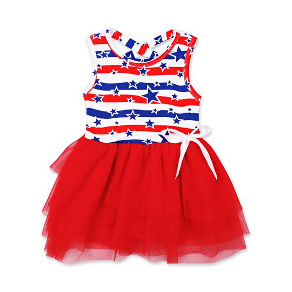 Mädchen Sterne gestreiften Kleid Sommer INS Kinder amerikanische Flagge Unabhängigkeitstag ärmellose Weste Bogen Prinzessin Kleid Kinder Kleidung
