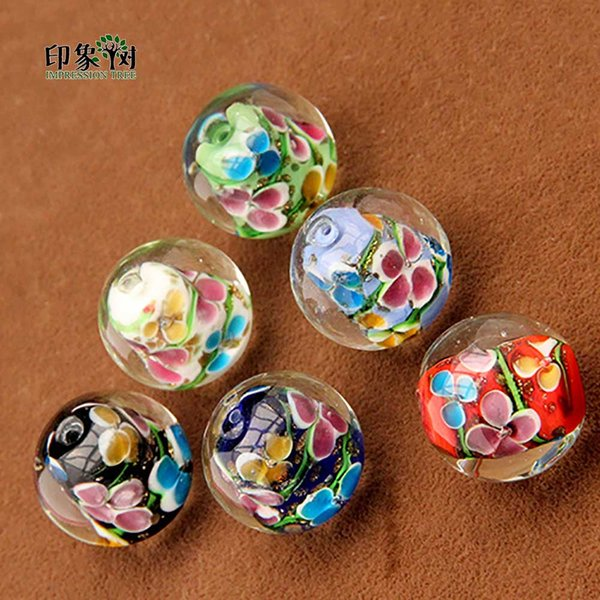 24mm Handmade Lampwork Color Flower Beads Gold Sand Inlaied Loose Spacer Glass Beads Multi Color For Jewelry Making 1630
