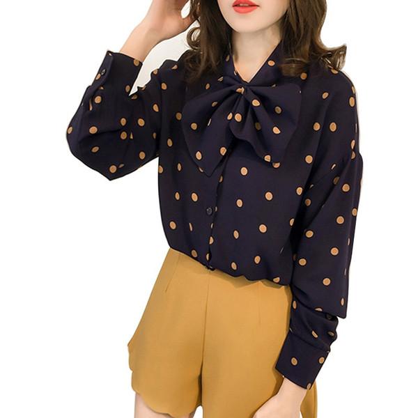 Women Casual Long Sleeves Blouses Sweet Big Bow Polka Dots Shirt Autumn Wild Chiffon Shirt Tops