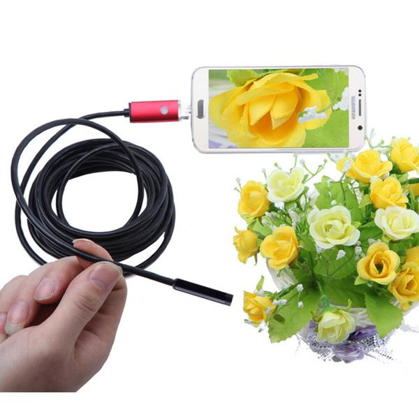 best selling 6 LED Lens 2 IN 1 Android PC Endoscope Waterproof USB Inspection Borescope Camera 1M semi-grid