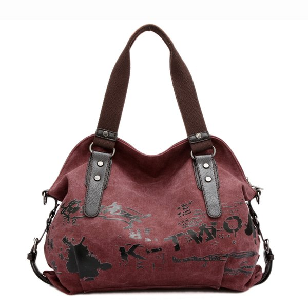 SCV-Frauen-Schulter-Taschen Vintage Graffiti Leinwand Handtaschen Berühmte Designer Weibliche Schultertasche Dame Totes Fashion Große Handtasche