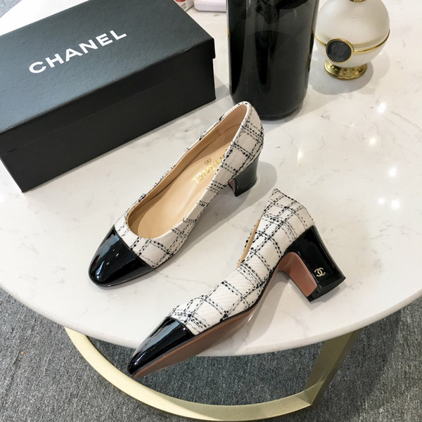 2019 New Women Designer white Black Two Tone Leather Suede Slingback heels Pumps sandal Loafers Womens sandals Size 35-40 6Cm heel with box