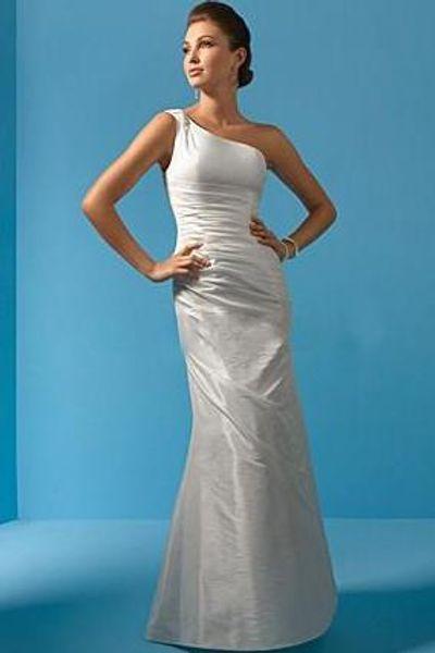 Classic Bridal Gowns Column One Shoulder Crinkle Brush Train Ruched Taffeta Zipper Beaded Straps Wedding Dress