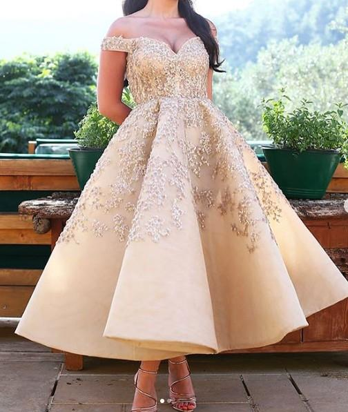 Tea Length Sequins 2019 Evening Dresses Sweetheart Beaded A-line Sexy Prom Dresses Cheap Formal Party Bridesmaid Pageant Gowns