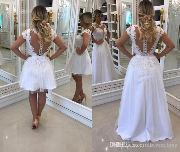 2019 New Lace See Through Back White Prom Dress Sexy Formal Holidays Wear Graduation Evening Party Pageant Gown Custom Made Plus Size