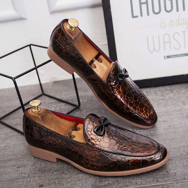 Мода змеиной кожи кожи вскользь Мужская обувь Итальянская платье Мужской обувь Свадебная Дизайнер рыбьей кожи партия Оксфорд обувь для мужчин