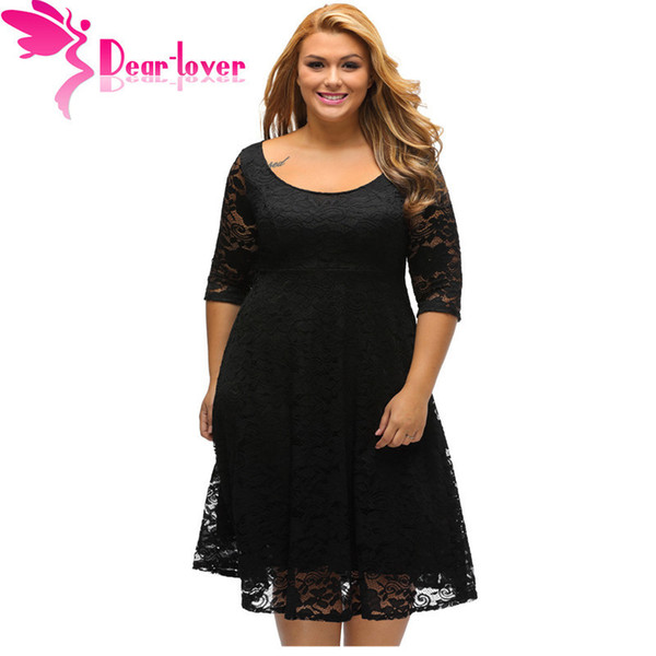 Dear Lover Autumn Dress Plus Size Women Clothing White/black Floral Lace Sleeved Fit And Flare Curvy Dress Vestido Casual C61395 Y190410