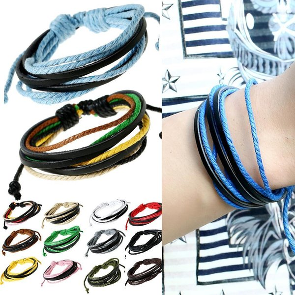 New 1pcs Hand-Woven Vintage Style Leather Unisex Rope Wrap Bracelets New Fashion Jewelry & Watches