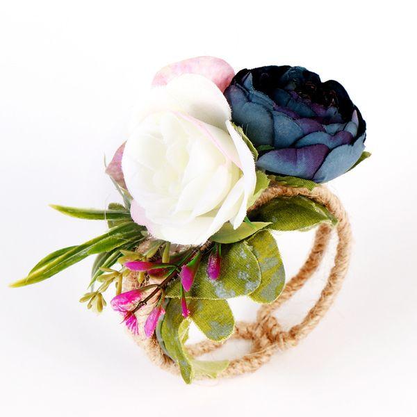 8cm Wedding Cloth Bridesmaid Bride Wrist Corsage Woodland Corsage Woven Straw Cuff Bracelet for Wedding Prom Hand Flowers