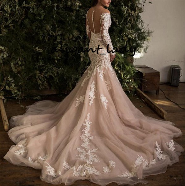 Long Sleeve Mermaid Wedding Dresses 2020 Champagne Full Lace Applique Chapel Train Garden Countryland Bride Trumpet Wedding Gown
