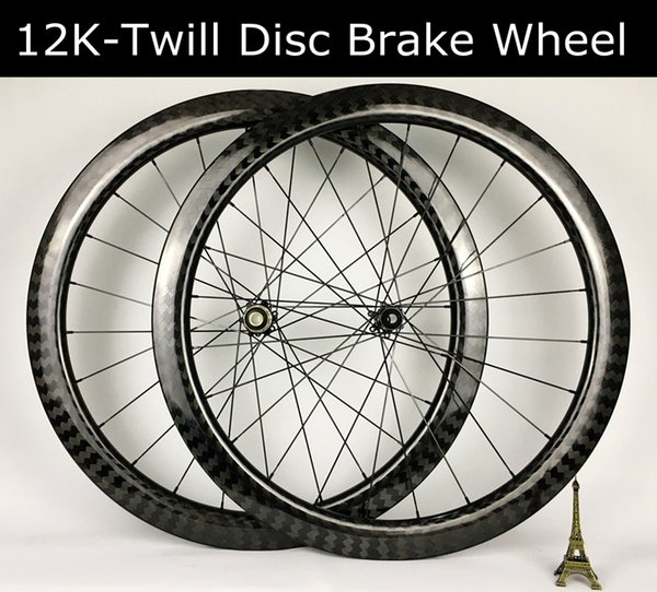 50mm Derinlik 12K kabartılmış örgü 26m genişlik karbon tekerlek seti Disk fren tekerlekleri yol bisikleti tekerlek