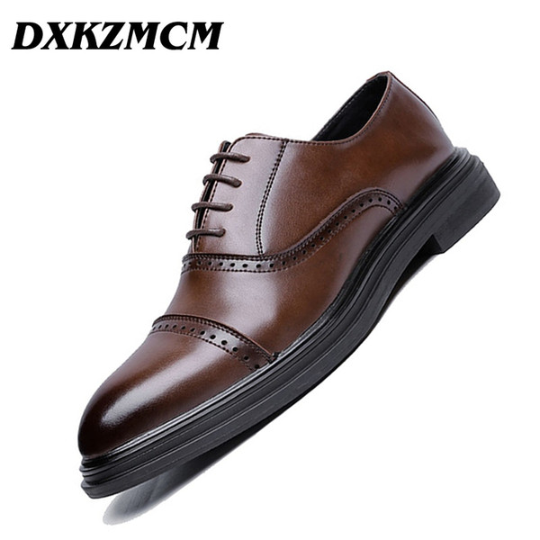 DXKZMCM 2018 Genuine Leather Men Brogues Shoes Lace-Up Bullock Business Dress Men Oxfords Shoes Male Formal #37011