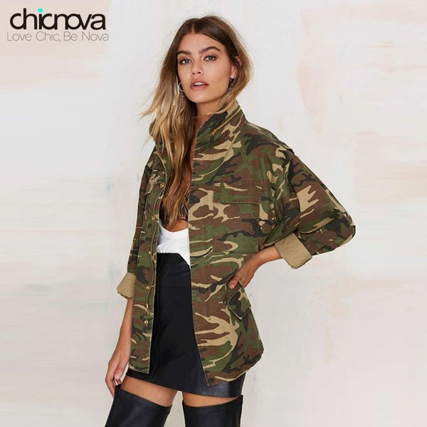 2019 new camo jacket women plus size long sleeve denim jacket zipper closure women's coat ta02801030329 thumbnail