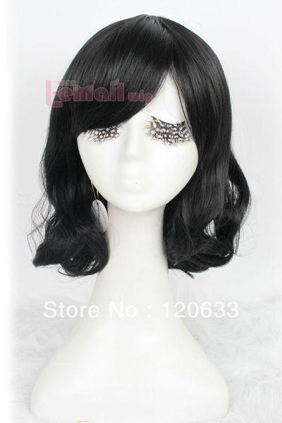 wow ! women's no lace Kanekalon hair Bang Cosplay wig Vogue 35cm black Medium Small volume woman Fashion Hair Full wig