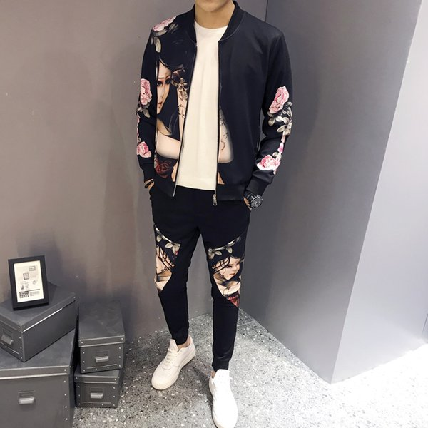Fashion-Men Дизайнер костюма Беговая дорожка Спортивная весна куртка костюм печать Кардиган пальто свитер Повседневный Спортивный костюм