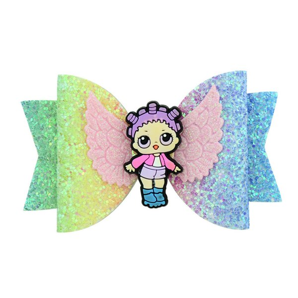 Cartoon Surprise Girls Glitter Sequins Bowknot Hairpin Baby Shiny Hair Clips Kids Hair Bow Kids Newborn Barrettes Hair Accessories A4406
