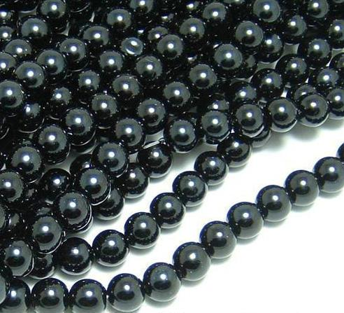 Черный цвет 4 размера круглые стеклянные жемчужные бусины для изготовления ювелирных изделий 4 мм 6 мм 8 мм 10 мм