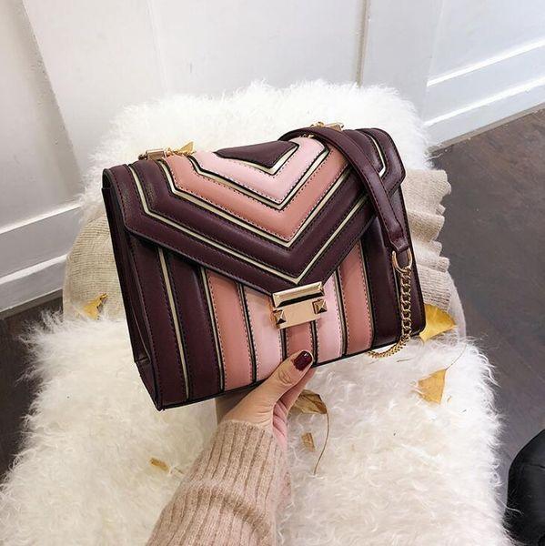 Usine en gros marque femmes sac à main nouveau rayé Messenger sac mode contraste chaîne en cuir sac simple Joker sac de mode en cuir