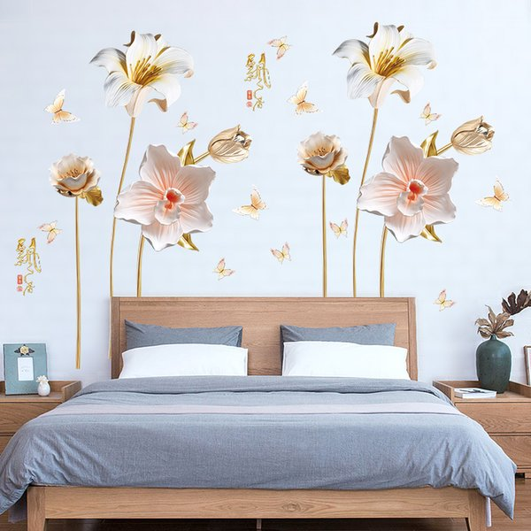 Embossed Orchid Flowers Wall Sticker Home Decor Bedroom TV Sofa Backround Wall Poster Wedding Decoration Art Mural PVC Wallpaper