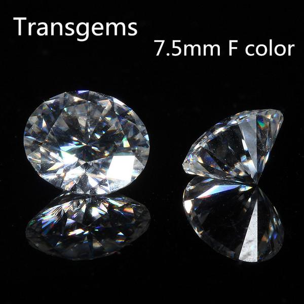 TransGems 7.5mm F Colorless Moissanite Piedras preciosas sueltas Diamante equivalente Peso en quilates 1.5ct Diamante Moissnaite transparente para joyería J190614
