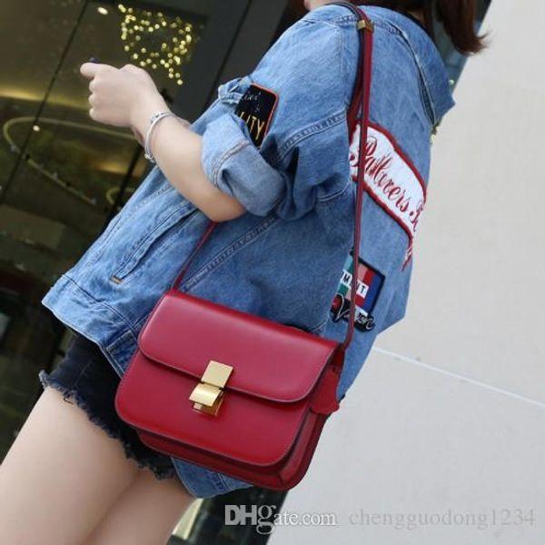 Tide Of Big-name Fashion Stewardess Package One Shoulder His Tofu Hand Graining Box Bag Factory Direct Sale Genuine Leather Handbags