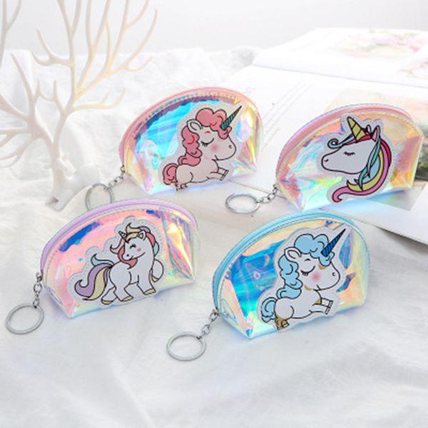 Taobao горячий стиль Полукруглый прозрачный лазерный кошелек Творческий единорог портмоне Монета мешок пользовательские партии Y