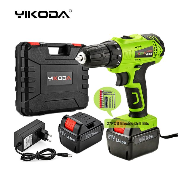 best selling 21V Cordless Drill Electric Screwdriver Rechargeable Two Lithium Battery Household Multi-function Power Tools Plastic Case Plus Accessories