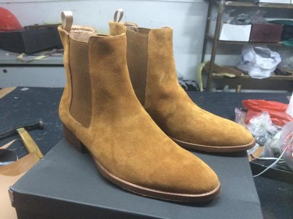 2019 Klasik Wyatt Ayak Bileği Çizmeler Batı Tarzı Siyah Deri Motorcylcle Çizmeler Erkekler Beyler Ayakkabı Güz Kış
