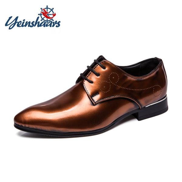 YEINSHAARS Big Size38-48 Classico uomo abito da sposa scarpe piatte di lusso da uomo affari Oxford scarpe da ufficio in pelle partito