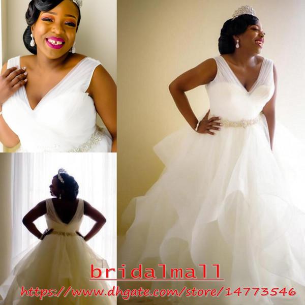Robes de mariée 2019 Elegant V Neck Plus Size African Wedding Dresses With Crystal Belt Zipper Back Bridal Gowns Sweep Train Wedding Dress