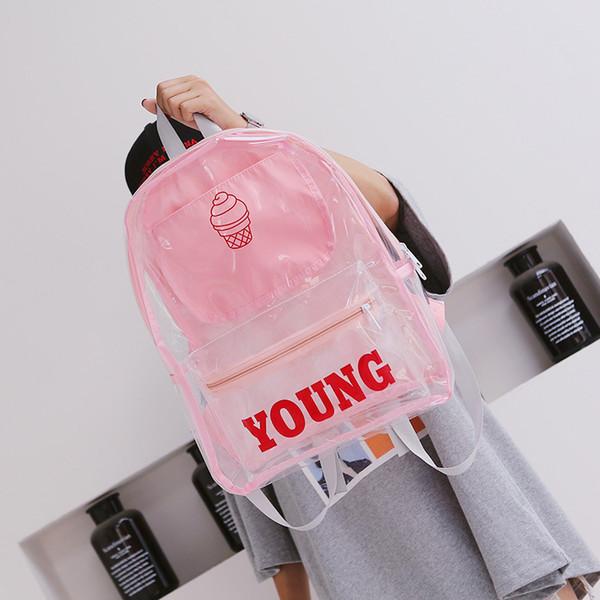 Zaino da spiaggia trasparente con stampa di lettere Zaino da donna Zaini da scuola color caramelle in PVC carino Borse da viaggio per ragazze adolescenti impermeabili
