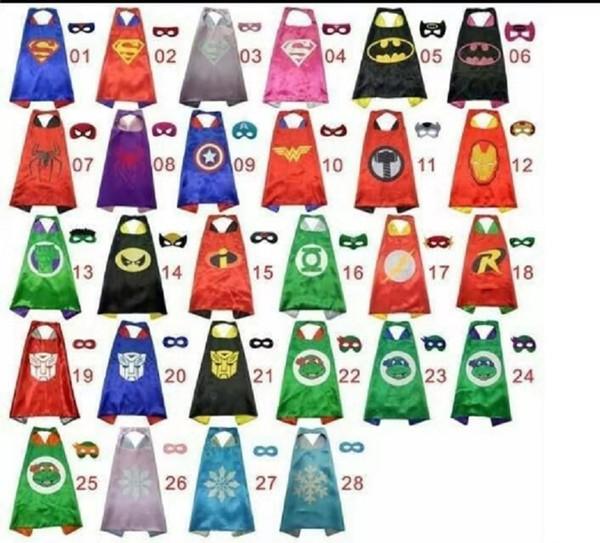 28 Arten einschichtig umfassen Logo 70 * 70CM Superheld-Umhänge und Maskensatz Superheld-Cosplayumhänge + Maske Halloween-Kapmaske für Kinder ST410