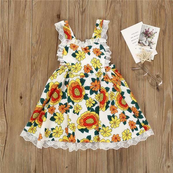 Nuovi vestiti delle neonate di estate La ragazza senza bretelle del fiore del merletto del vestito dal fiore della principessa sventola scherza le ragazze JY504 dei vestiti firmati