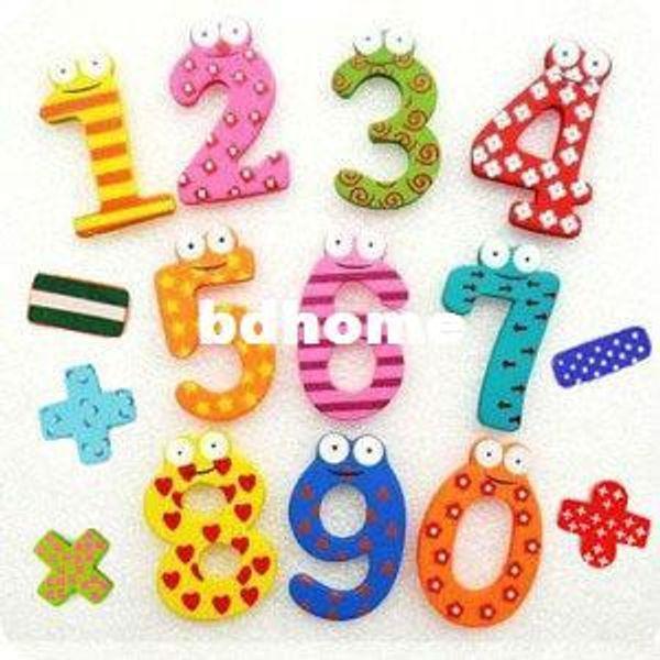 10 lots nouveaux 15pcs / lot en bois 10 Figure 5 numéros + Marques Bébé Ponctuation / éducatifs pour enfants Outil coloré Réfrigérateur bâton aimant