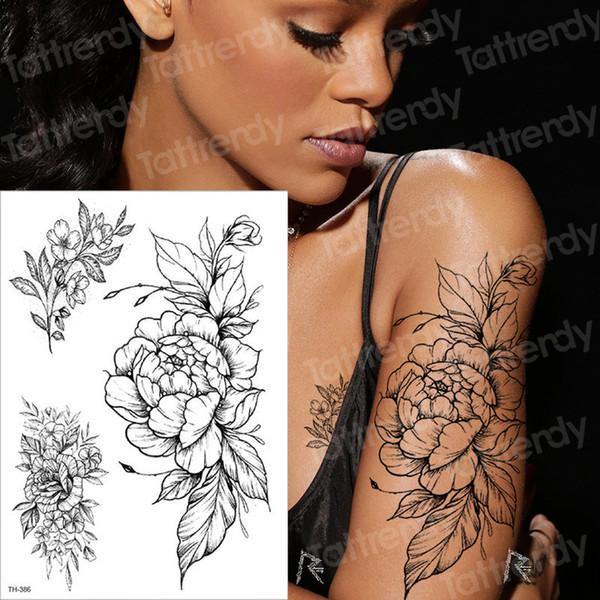 Temporäre Tätowierung Schwarze Blume Tattoo Ärmel Wassertransfer Tattoo Aufkleber Pfingstrose Rose Tattoos Body Art Sexy Tattoo Mädchen Arm Tatto SH190724