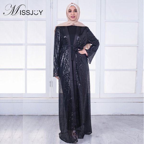 MISSJOY Sequin Dress abaya Dubai Islamic Muslim Party 2018 arabic Women Black Fashion Open Front Kimono Long Maxi Cardigan Dress