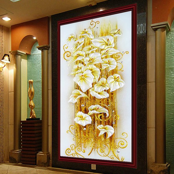 5d Diy Painting Cross Stitch Golden Lily Embroidery Flowers Crystal Round Diamond Mosaic Pictures Needlework Q190511
