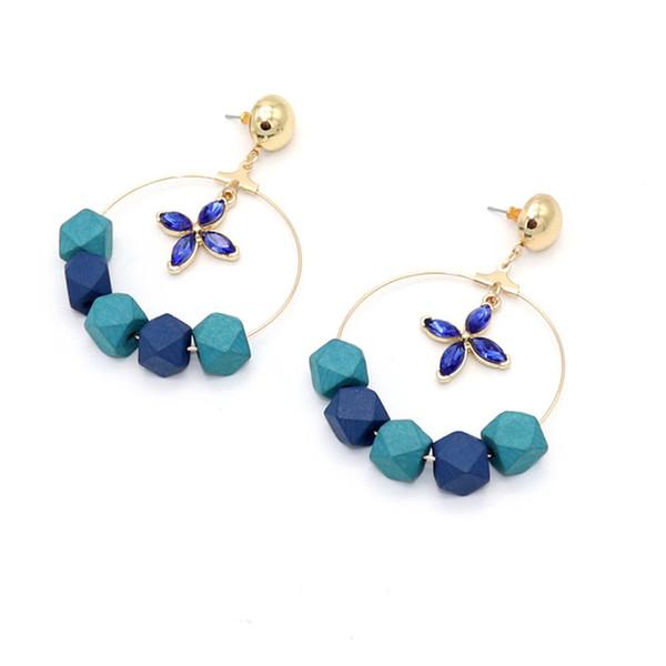 Cristal azul faceta Cuentas de madera Pendientes de hebra Geometría Flor Color dorado Brincos Pendientes Joyas Mujer