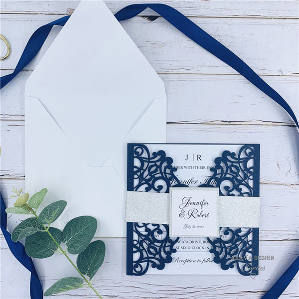 top popular Fabulous Navy Blue Laser Cut Wedding Invitations With Glitter Belly Band And Tag, Provide Free Printing and Free shipping 2021
