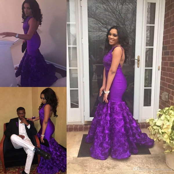 Eggplant Purple Mermaid Prom Dresses For Black Girls Sexy Backless Floor Length Rose Floral Formal Evening Gowns Sleeveless African Gowns Prom Shop